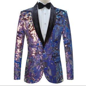 Other - Men's Blue Gold Velvet Blazer